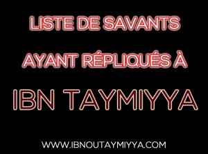 Savants ayant répliqués à Ibn Taymiyya
